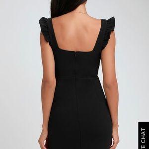 Miriam black ruffled bodycon dress